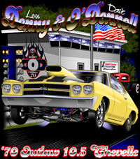 Lou Denny's Outlaw 10.5 Nitrous Chevelle Drag Racing T Shirts