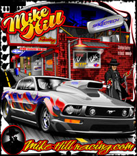Mike Hill Outlaw 10.5 Mustang Hitman Themed Drag Racing T Shirts