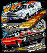 NEW !! Bryant Goldstone's Twin Turbo Javelin and Procharged Chevelle Drag Racing T Shirts