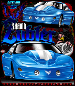 Repeat Customer Shawn Zubler comes back for his second Drag Racing T Shirts with life like rendering's of his outlaw 10.5 Trans Am now turbocharged and in screaming color