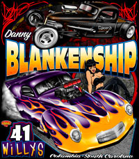 Danny Blankenship Supercharged Willys Outlaw Pro Modified Drag Racing T Shirts