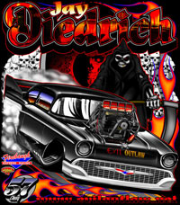 Jay Diedrich Supercharged 57 Chevy Pro Mod Drag Racing T Shirts