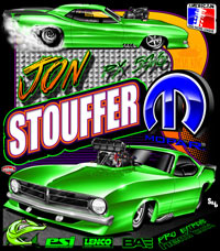 Jim Stouffer Supercharged Cuda Pro Mod Drag Racing T Shirts