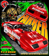 NEW !! Returning Customer Pete Farber CRC Brakleen NHRA Pro Modified  Drag Racing T Shirts