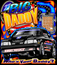 Big Daddy Outlaw Drag Radial Mustang Racing T Shirt