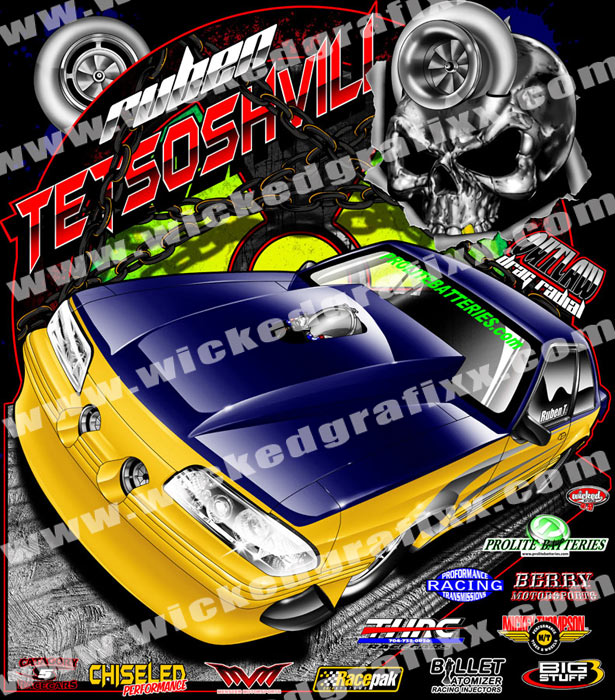 wicked grafixx single car drag racing competition t shirt designs