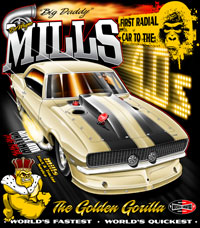 NEW!! Dewayne Mills Golden Gorilla First To The Fours Outlaw Drag Radial Drag Racing T Shirts