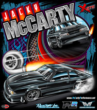 NEW !! Jacky McCarty Outlaw 275 Drag Radial Mustang Drag Racing T Shirts