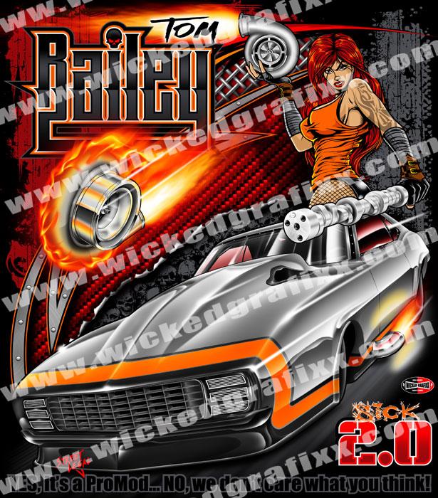 Wicked Grafixx Custom Big Tire Drag Racing T Shirts